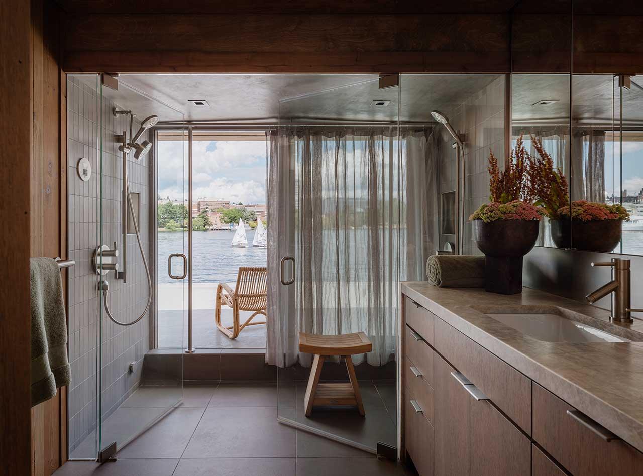 modern bathroom of floating house
