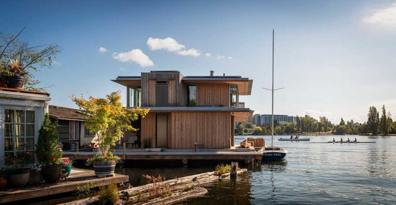 modern cabin floating in the water