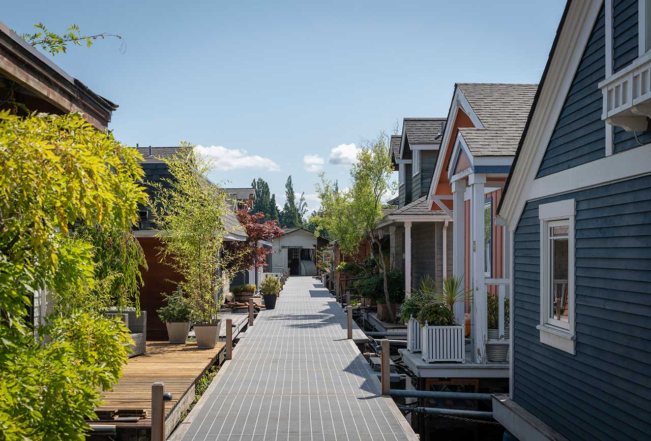 floating houses attached to walkway