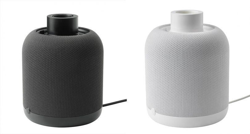 IKEA Sonos SYMFONISK lamp bases in black and white