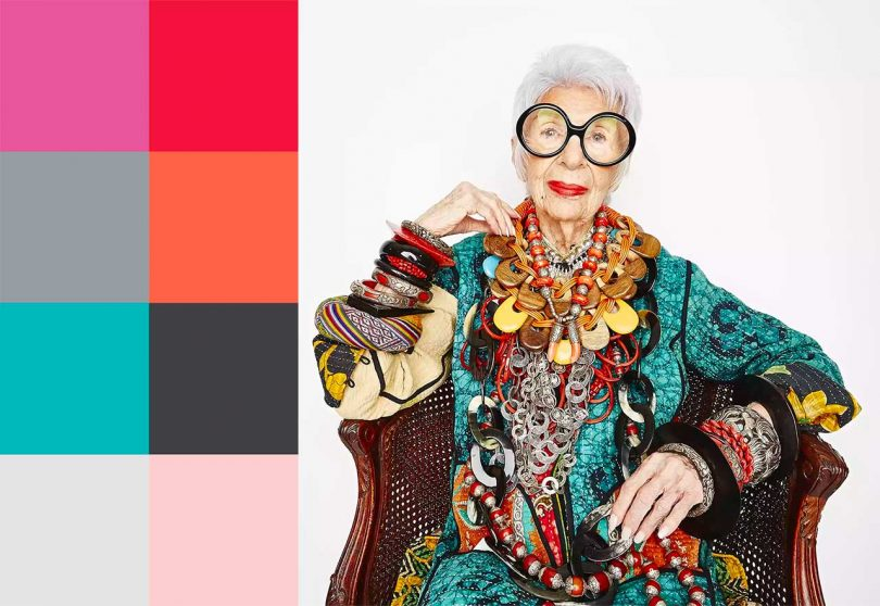 Iris Apfel vibrantly dressed next to a color palette