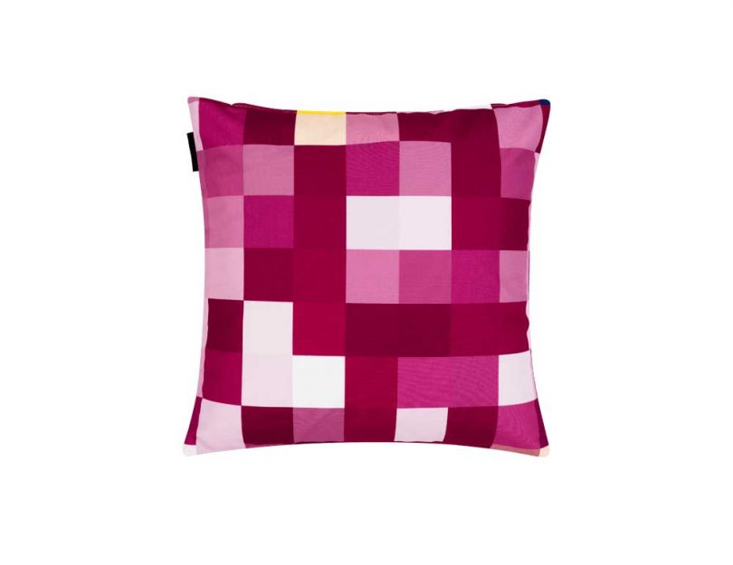 bright pink pixelated pillow
