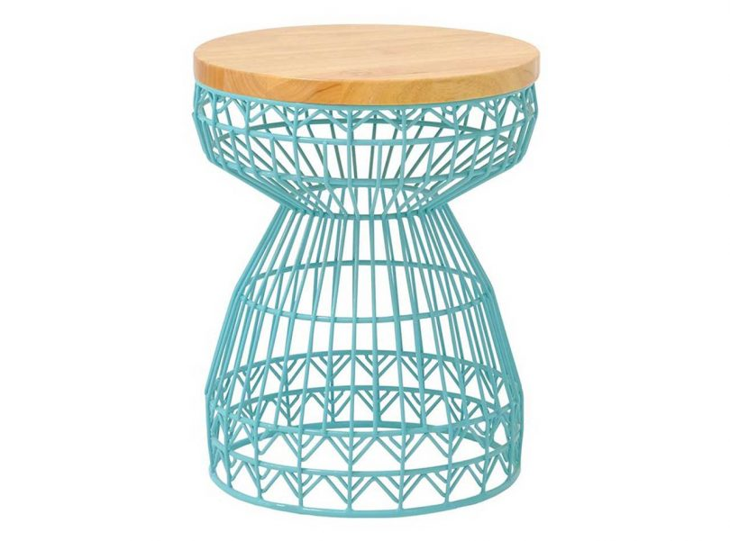 aqua geometric wire stool with wooden seat