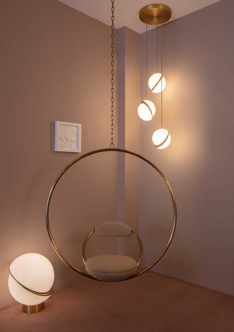 showroom vignette of modern lighting and accessories