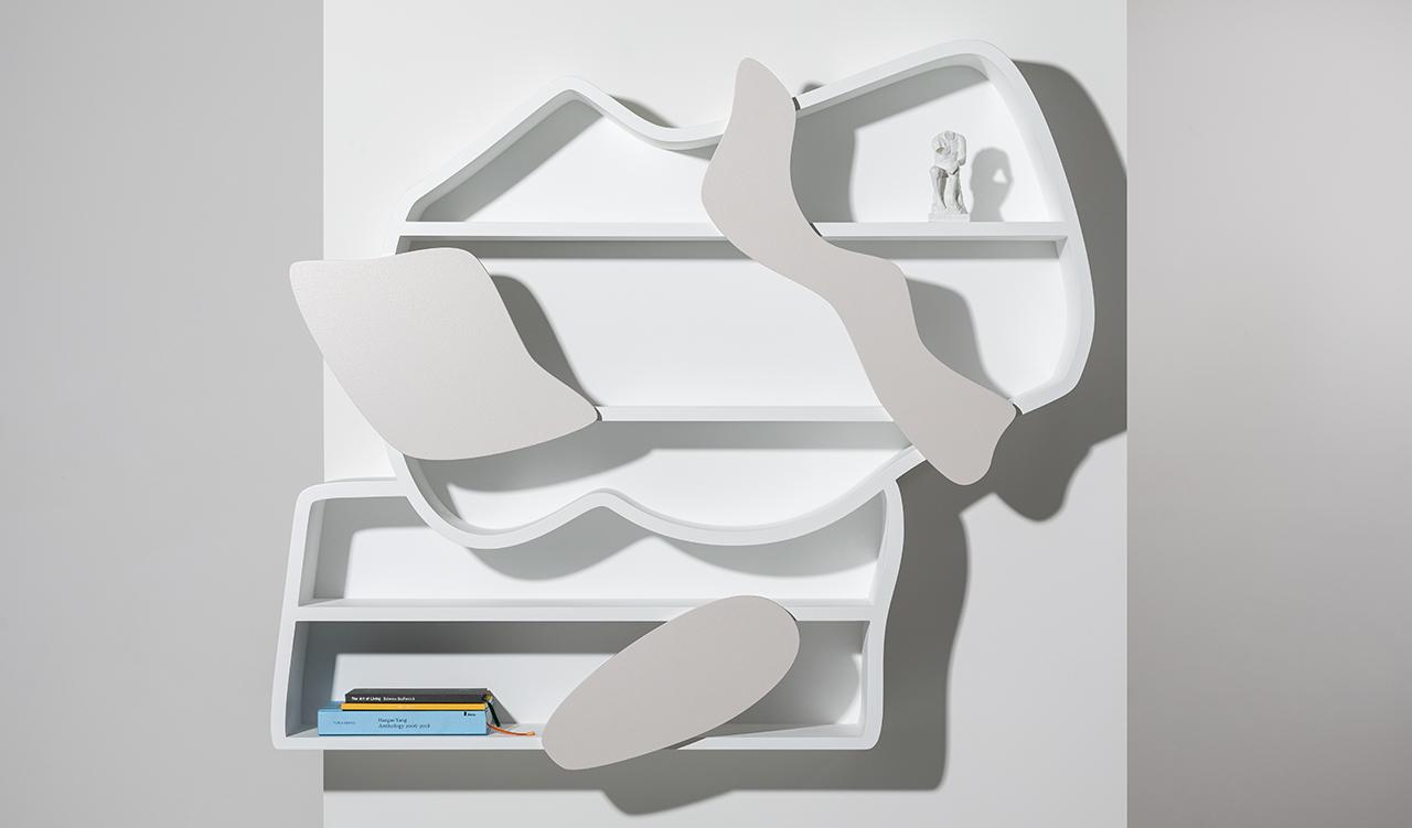 sculptural white wall shelf