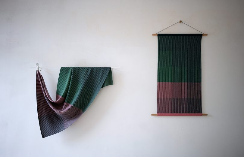 two multicolored textiles hanging on a white wall
