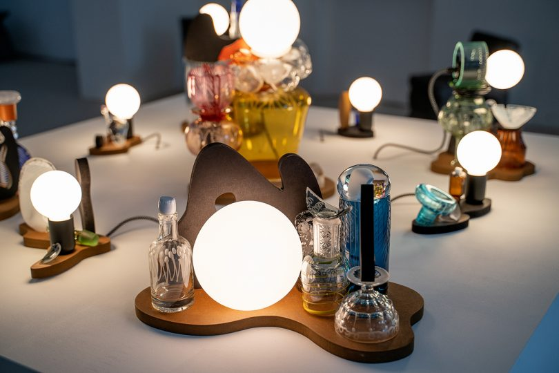 creative found glass table lighting