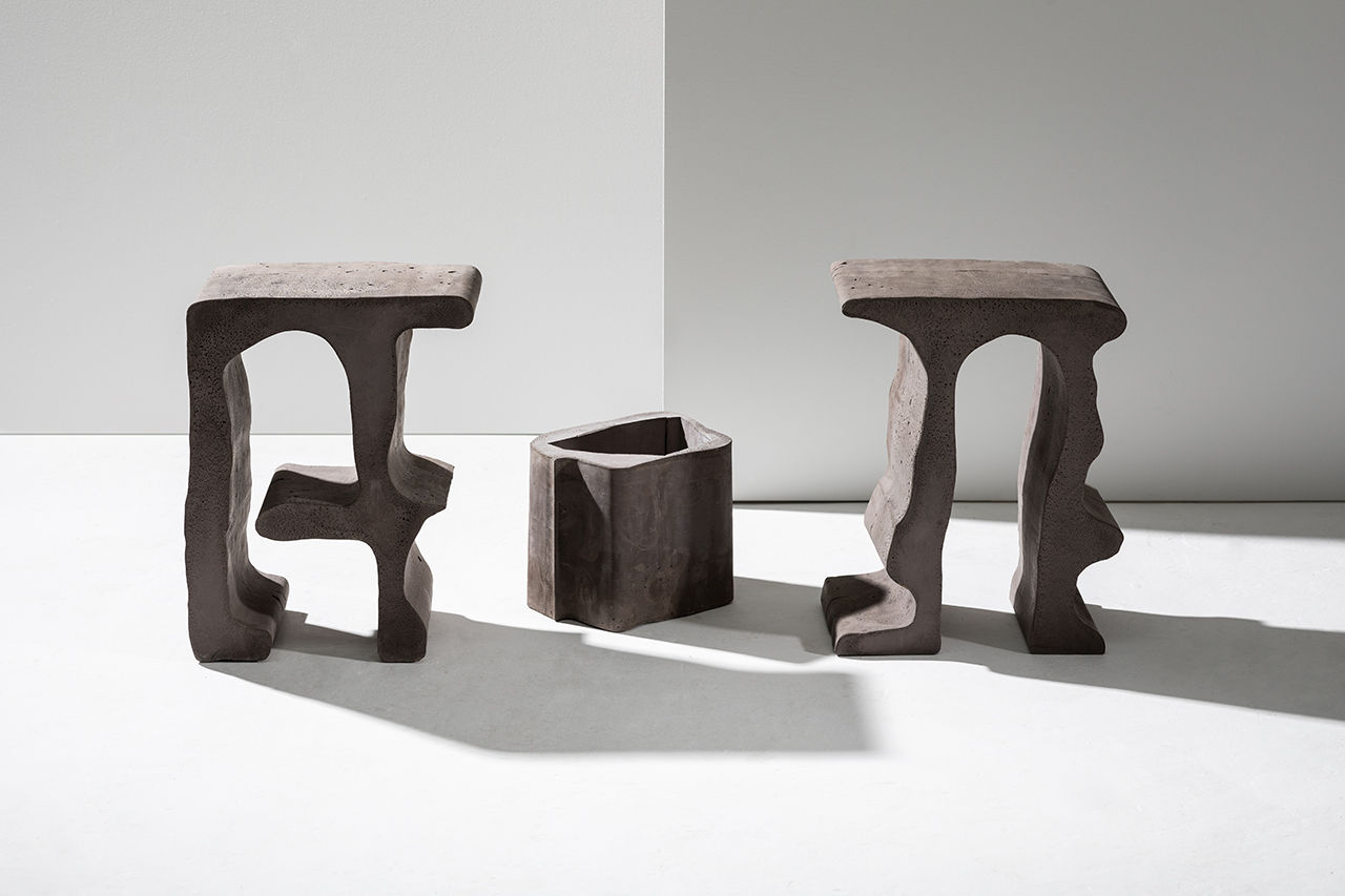 two piece of wooden organic furniture