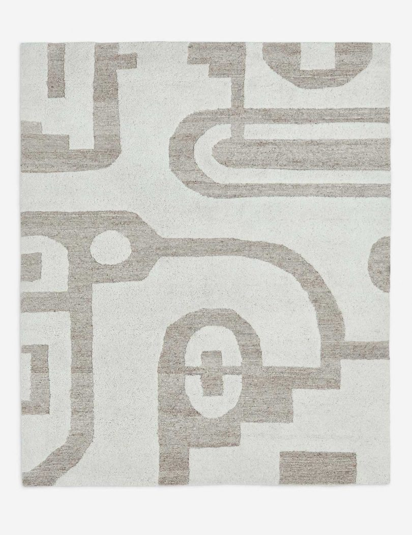 modern neutral rug with graphic pattern