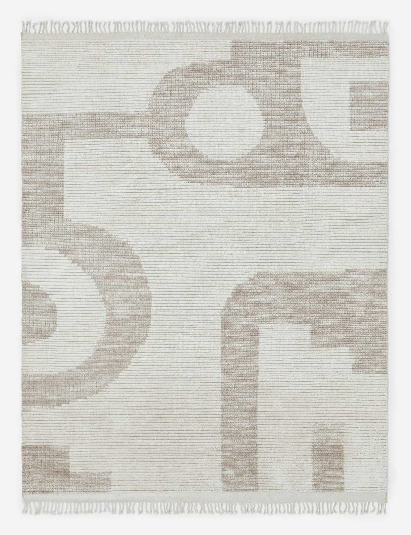modern rug in neutral colors with graphic patter