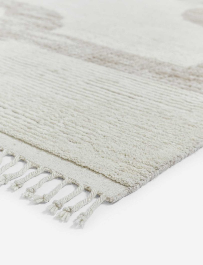 closeup of modern rug in neutral colors