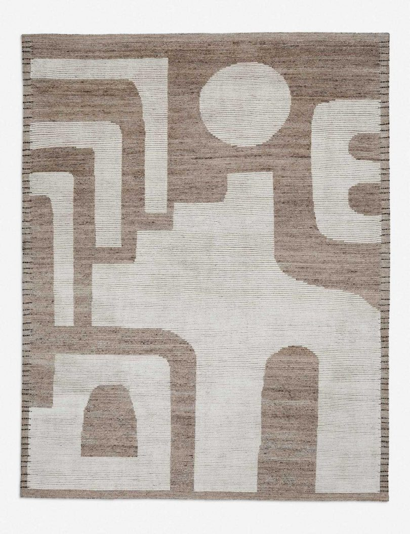 modern rug in warm neutral colors