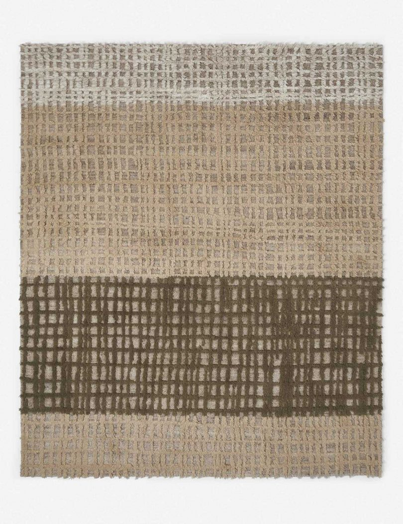 abstract rug in warm neutral colors
