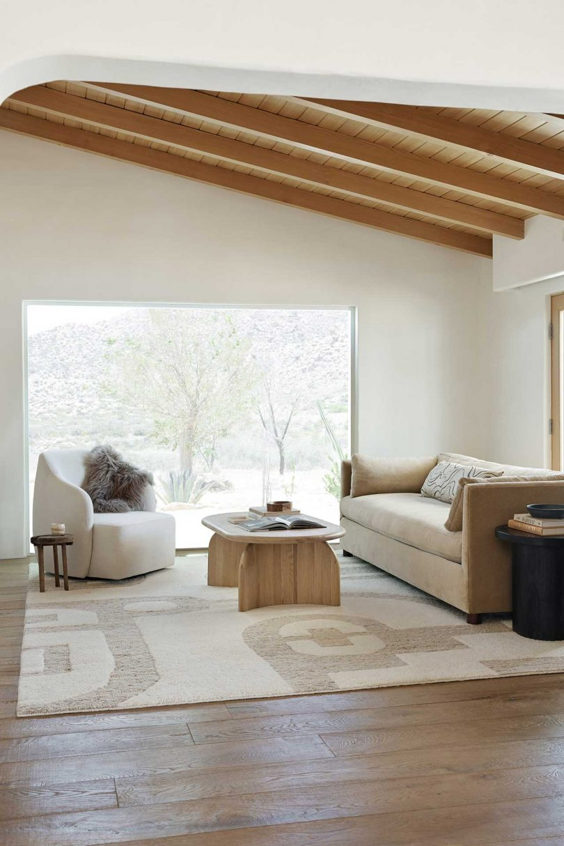 modern living room with neutral textiles