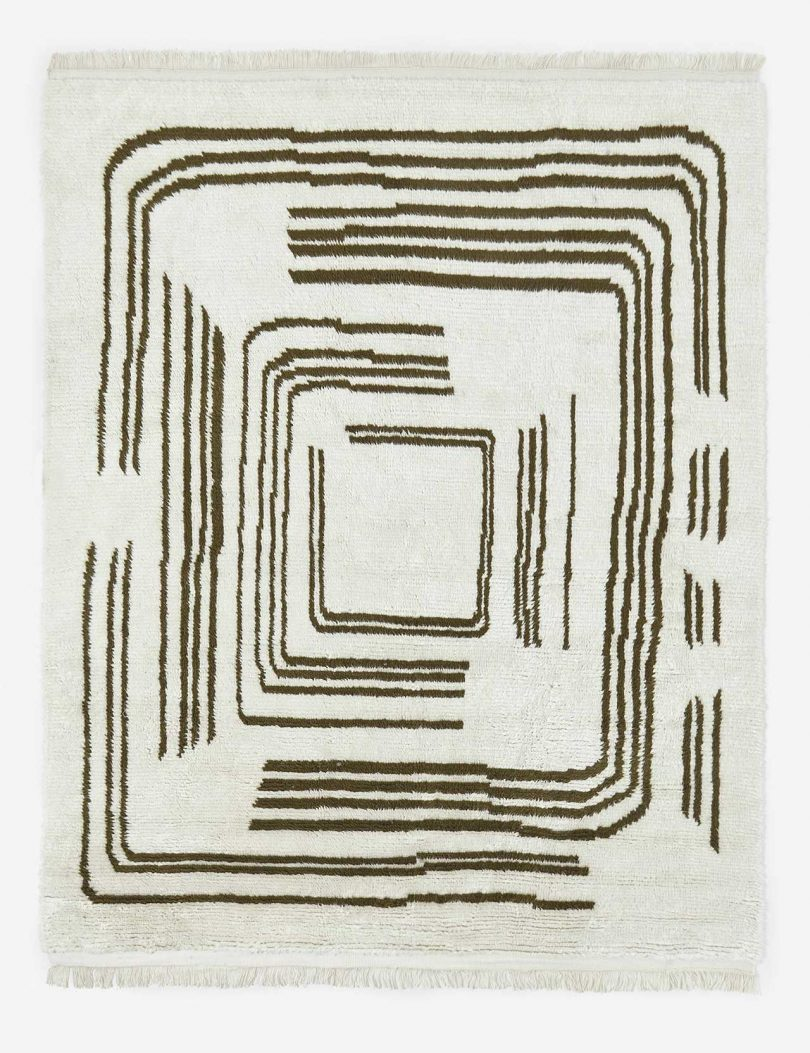 modern maze rug in neutral colors