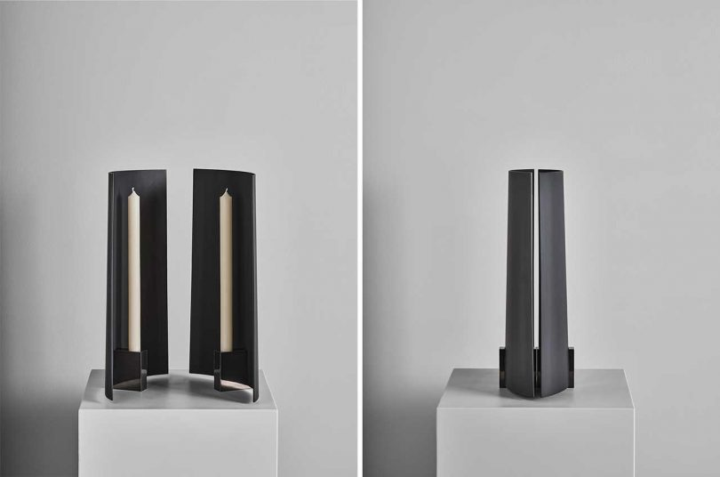 two views of a modern candleholder