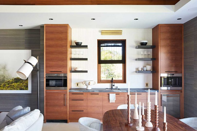 modern dining area with compact kitchenette