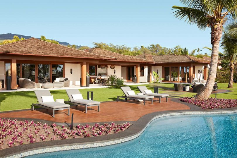 backyard view of modern house in tropical location