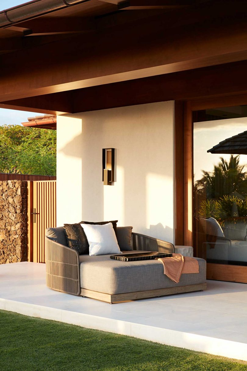oversized lounge chair on exterior patio