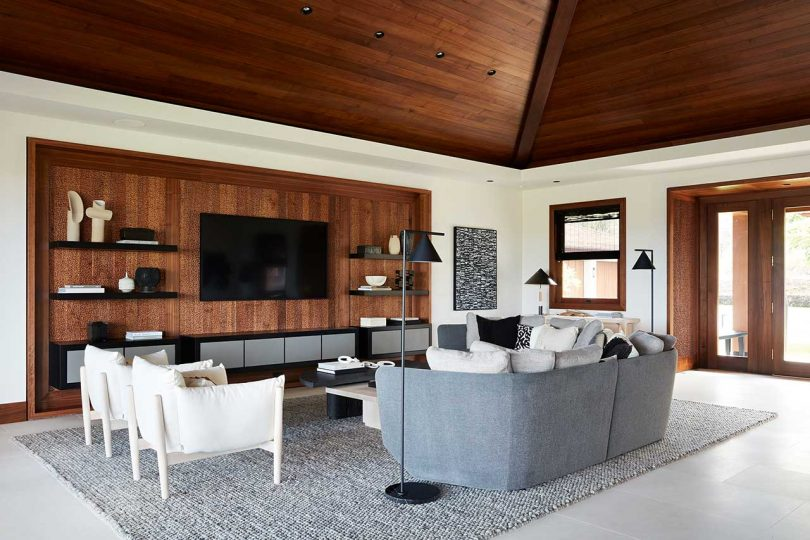 modern living room with pitched wood ceiling