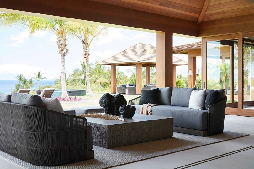 modern sitting area on covered patio