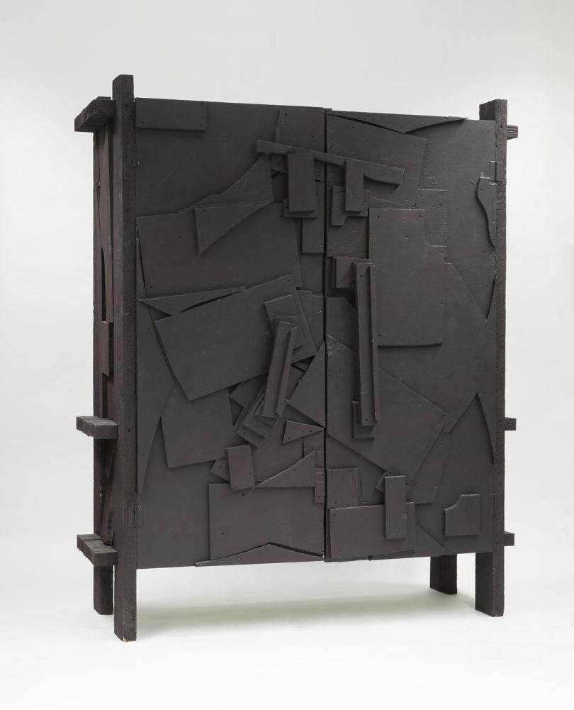 dark wood cabinet on white background