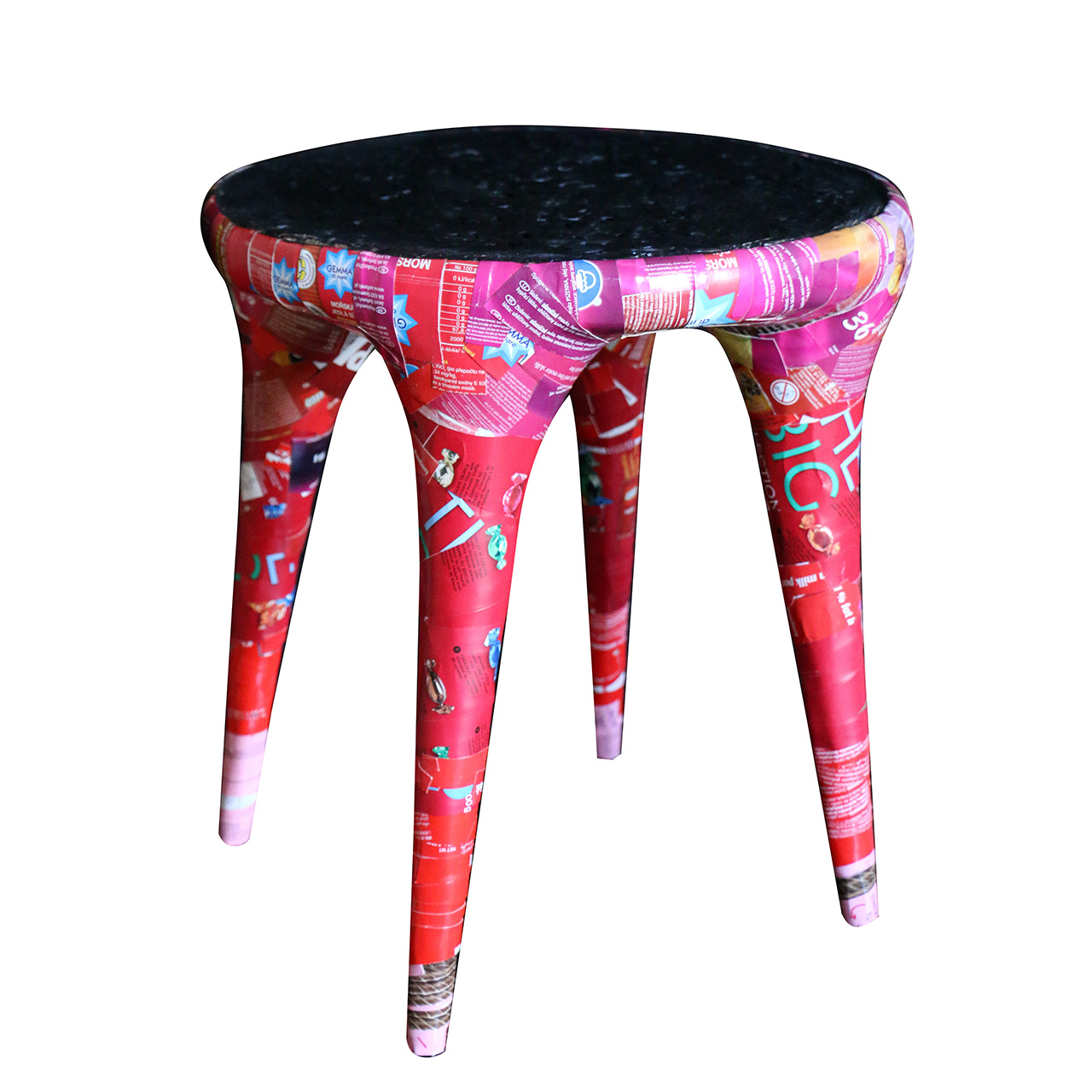 colorful collaged stool on white background