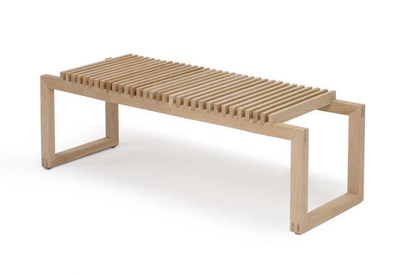 modern minimalist slatted wood bench