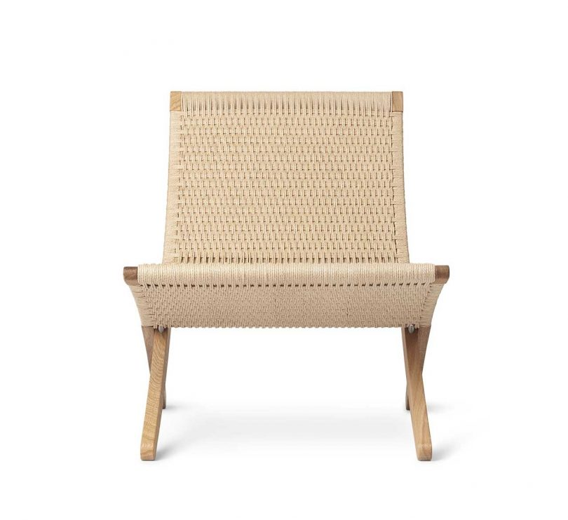 modern chair in light wood with woven seat and backrest