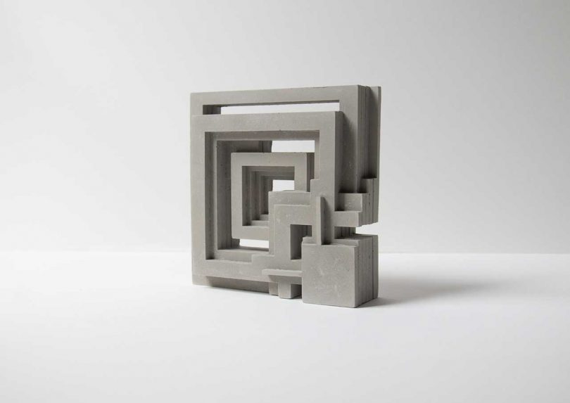 concrete bookend inspired by Frank Lloyd Wright and his Ennis House