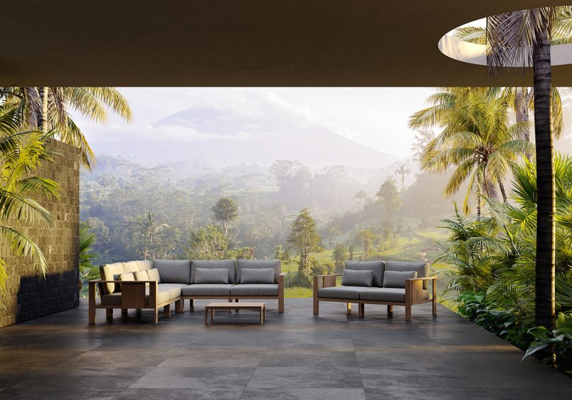 outdoor furniture in a covered outdoor space surrounded by nature