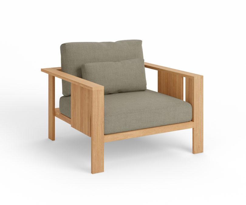 wood outdoor armchair with grey upholstery on white