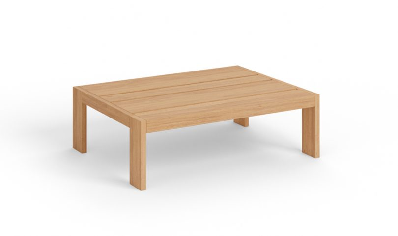 wood outdoor coffee table on white