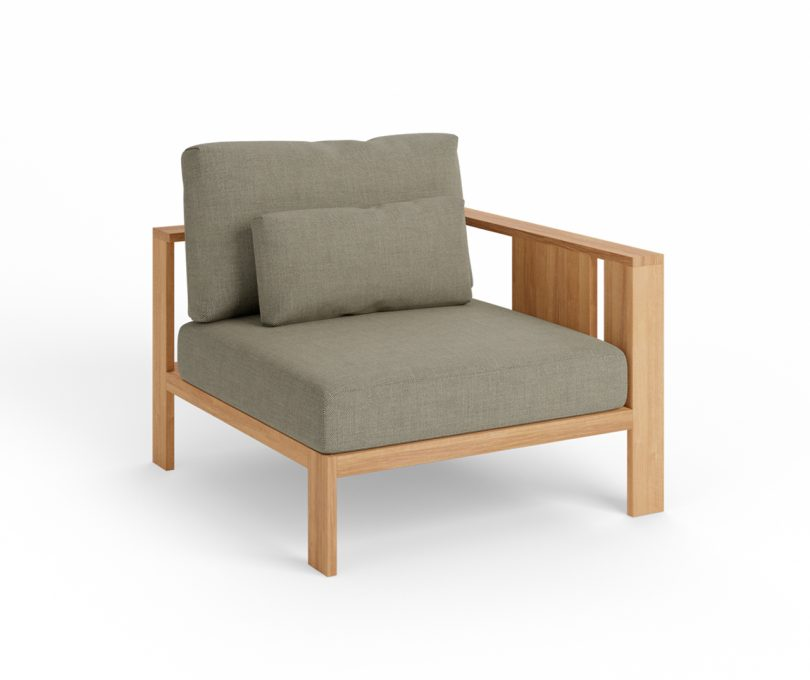 wood outdoor modular corner chair with grey upholstery on white
