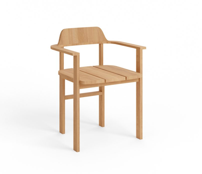 wood outdoor armchair on white background