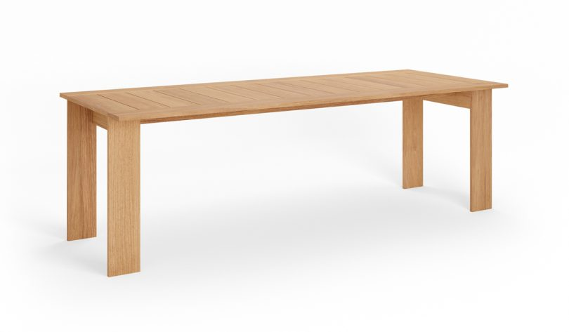 wood outdoor dining table on white background