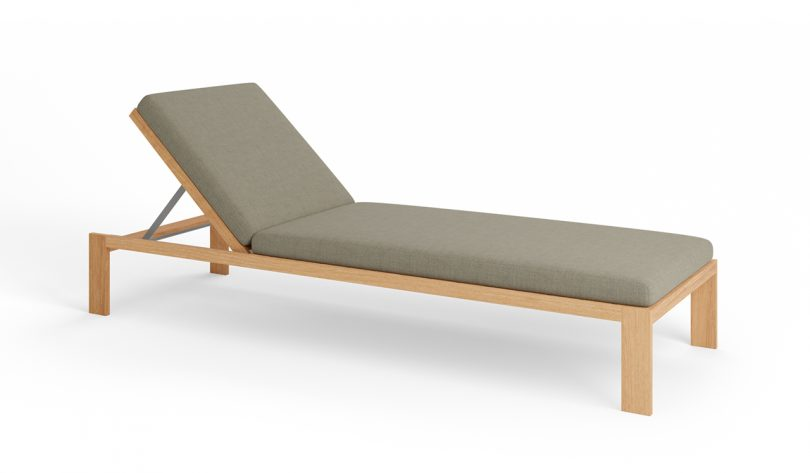 wood outdoor deck chair with grey upholstery on white