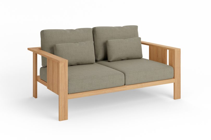 wood outdoor two seater sofa with grey upholstery on white