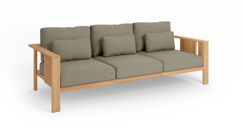 wood outdoor three seater sofa with grey upholstery on white