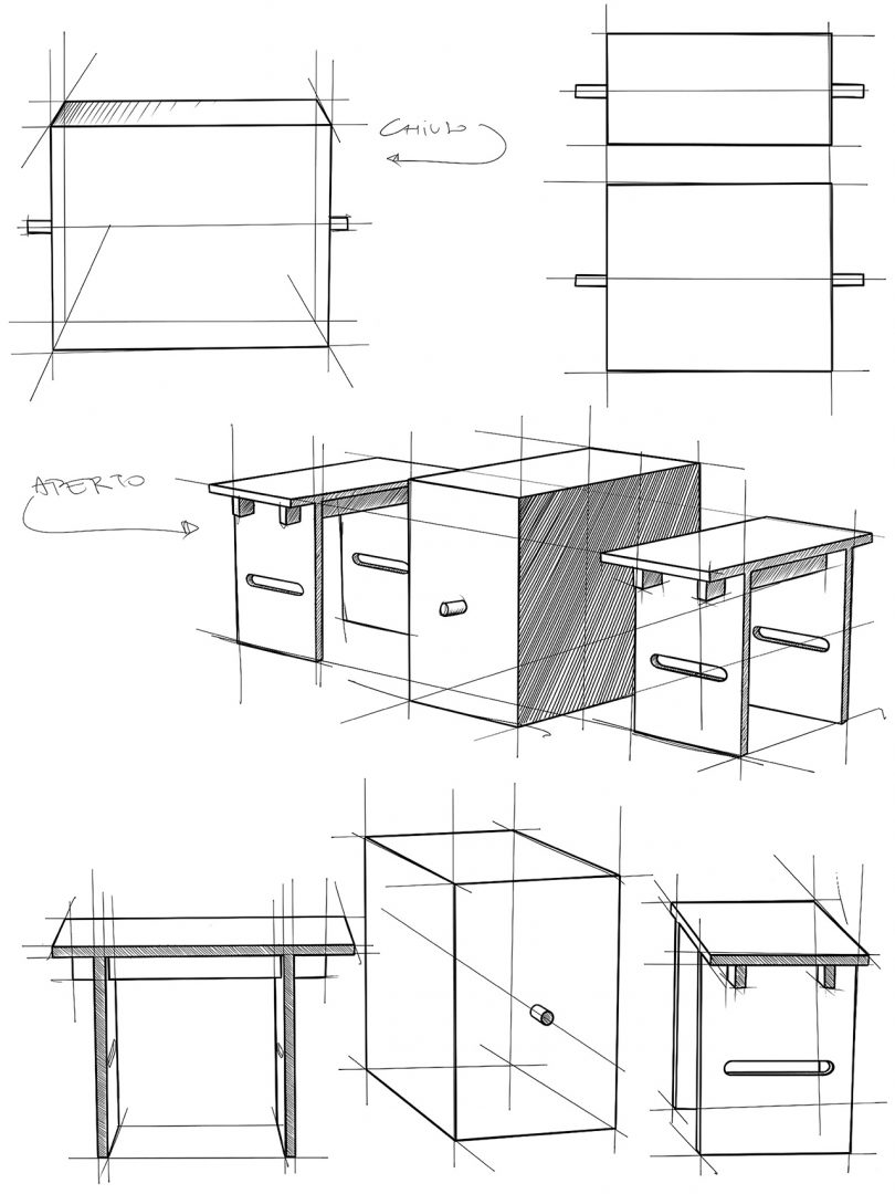 black and white sketches fo a table and two stools