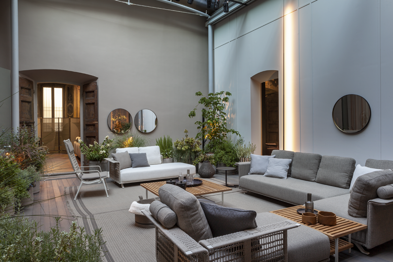 outdoor furniture in a light and bright space