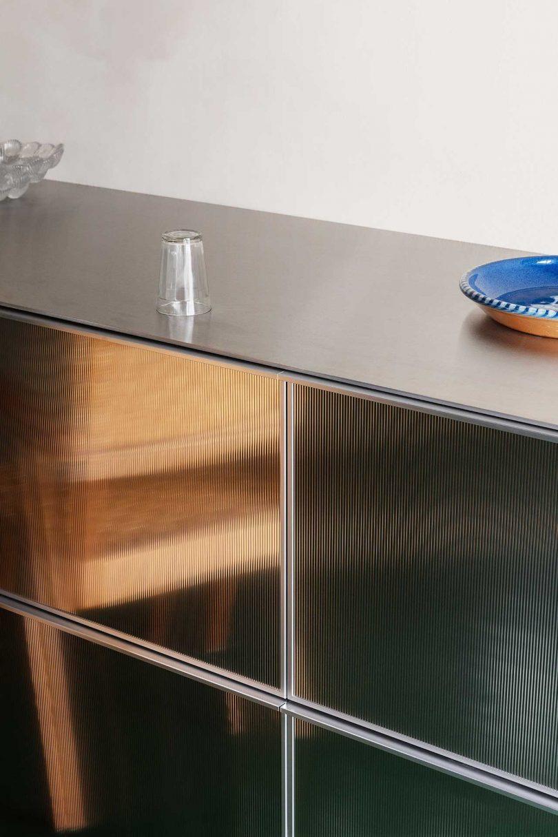 reflective lower kitchen cabinets