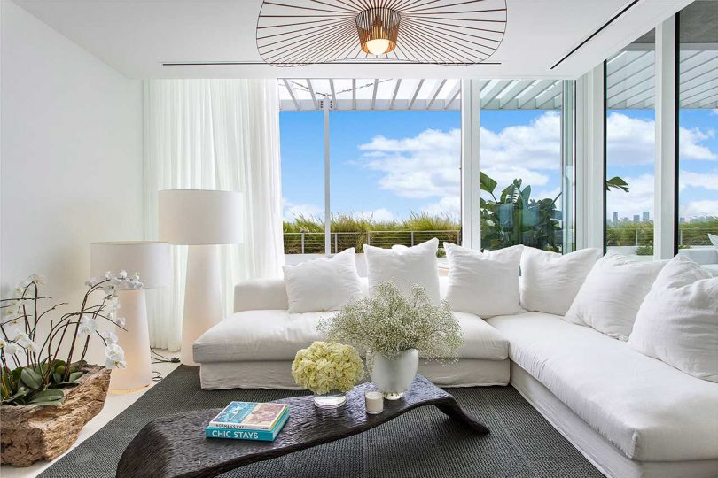 modern sitting room with white furnishings