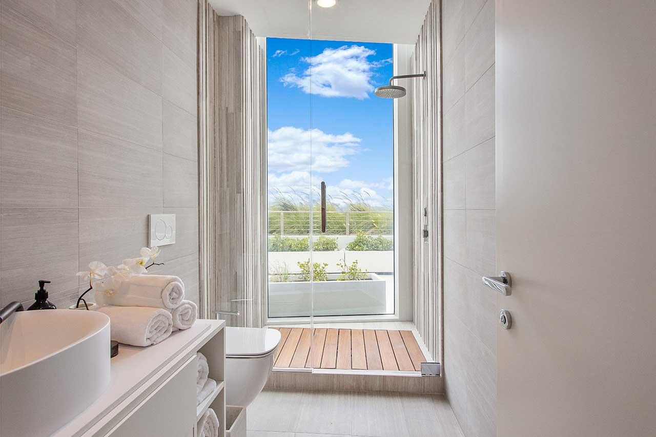 modern bathroom in pale tones