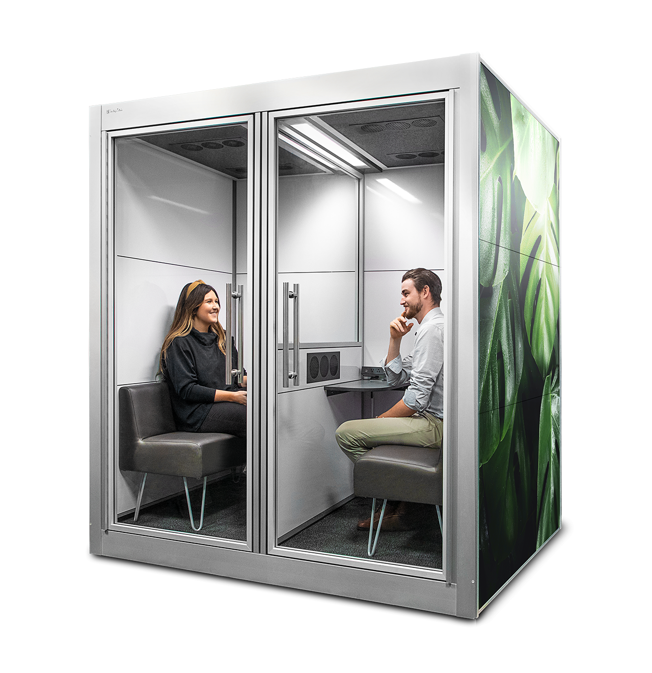 workspace pod with two people inside on white background