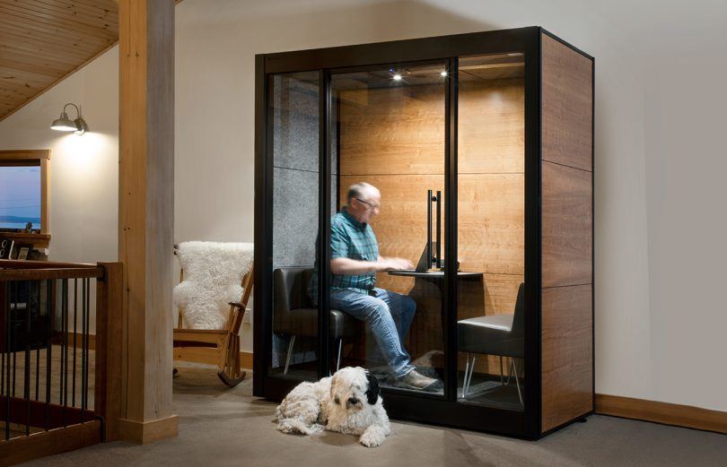 workspace pod inside home with man inside and dog laying outside
