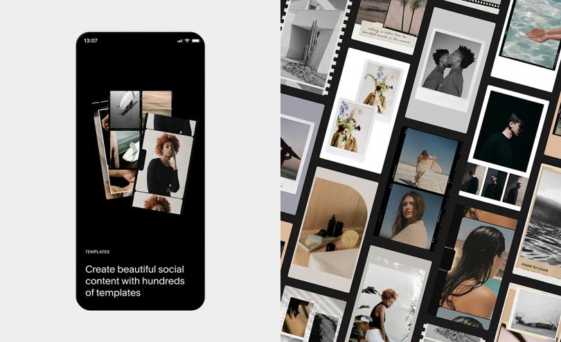 imágenes adyacentes del teléfono con la aplicación en la pantalla y el collage de las pantallas del teléfono