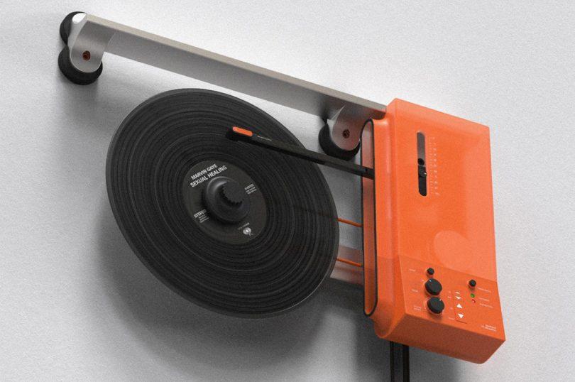 orange wall mounted modern turntable