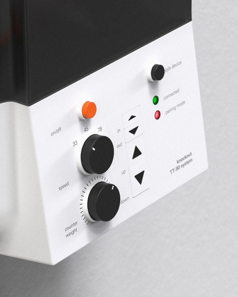 wall mounted modern turntable closeup