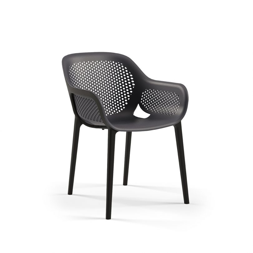 three quarter photo of black colored outdoor armchair on white background